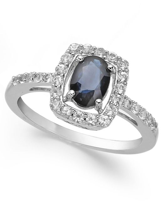 Macy's - Metallic Sapphire (1-3/8 Ct. T.w.) And White Sapphire (1/2 Ct. T.w.) Ring In Sterling Silver - Lyst