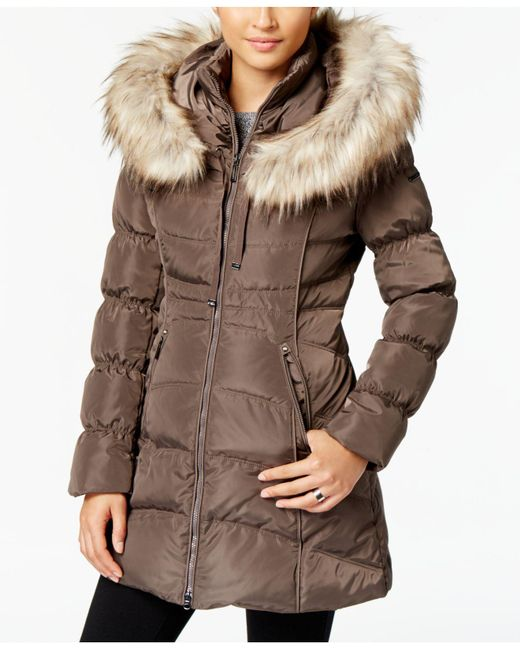 Laundry by Shelli Segal - Brown Faux-fur-trim Hooded Puffer Coat - Lyst
