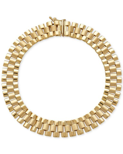 Macy's | Metallic Men's Wide Link (9-1/2mm) Bracelet In 14k Gold for Men | Lyst
