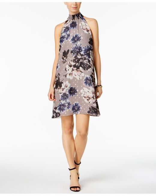 Ivanka Trump | Gray Floral-print Trapeze Dress | Lyst