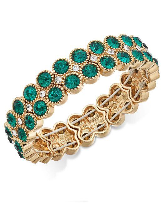 Charter Club   Metallic Gold-tone Green Stone Double-row Stretch Bracelet   Lyst