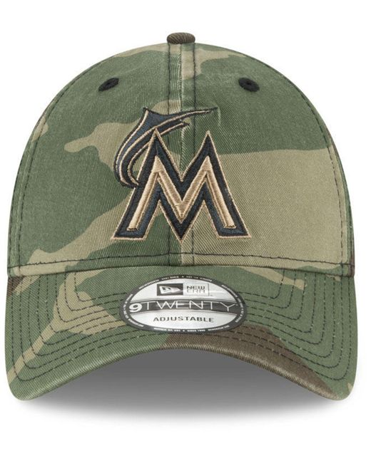 new concept 521dd 4b66f ... discount code for ktz green miami marlins camo core classic 9twenty cap  for men lyst 2f1b5