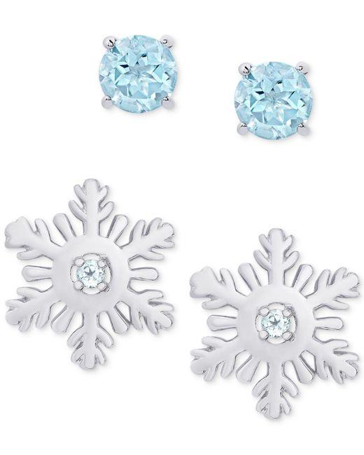 Macy's - Metallic 2-pc. Set Blue Topaz Snow Flake & Round Stud Earrings (5/8 Ct. T.w.) In Sterling Silver - Lyst