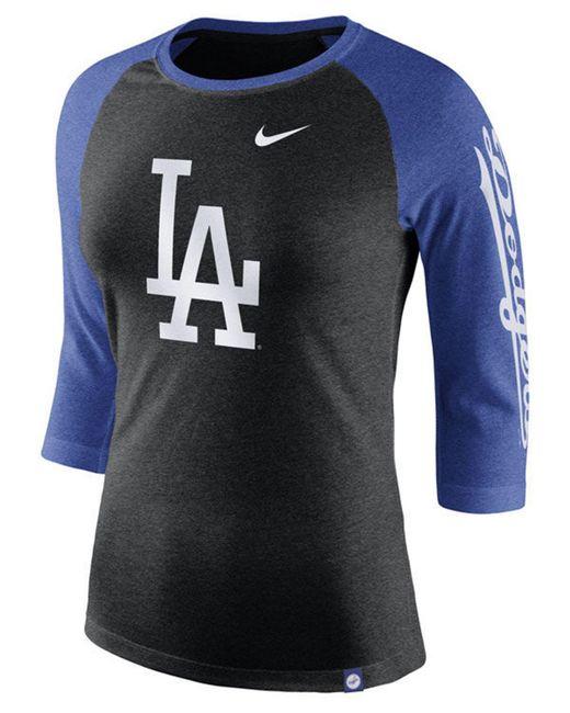 7d344fcc4 Lyst - Nike Los Angeles Dodgers Tri-blend Raglan T-shirt in Black ...