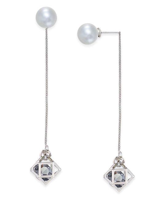 ABS By Allen Schwartz   Metallic Silver-tone Imitation Pearl Geometric Linear Earrings   Lyst