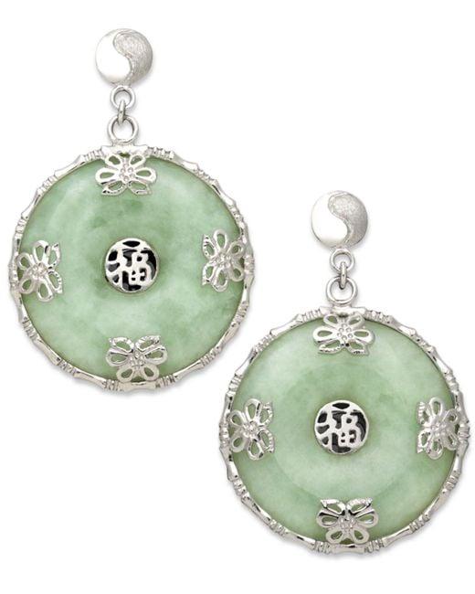 Macy's | Green Sterling Silver Earrings, Jade Circle Flower Overlay Earrings | Lyst