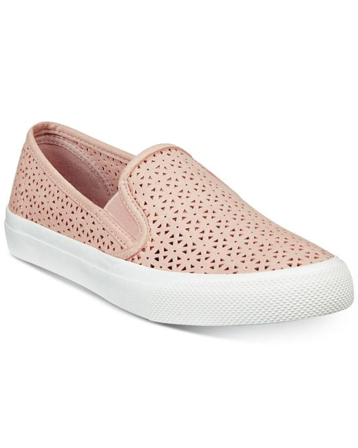 Sperry Top-Sider - Pink Seaside Perforated Slip-on Sneakers, A Macy's Exclusive Style - Lyst