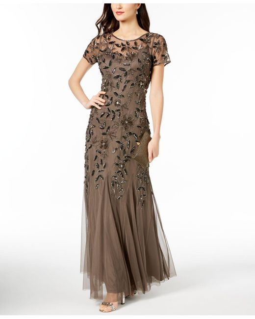 Adrianna Papell - Brown Embellished Floral-print Gown - Lyst