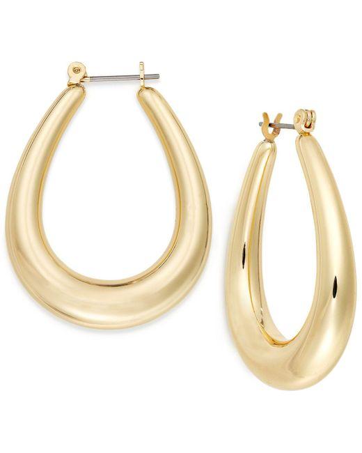 Charter Club | Metallic Gold-tone Oval Hoop Earrings | Lyst