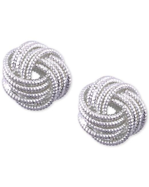 Nine West - Metallic Silver-tone Love Knot Stud Earrings - Lyst