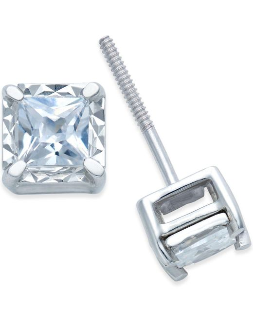 Macy's - Metallic Diamond Stud Earrings (1/2 Ct. T.w.) In 14k White Gold - Lyst