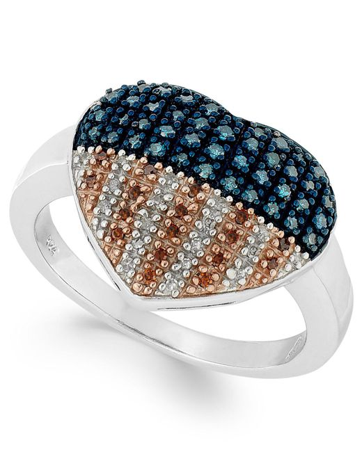 Macy's - Multicolor Sterling Silver Ring, Diamond And Diamond Accent Flag Heart Ring (1/3 Ct. T.w.) - Lyst