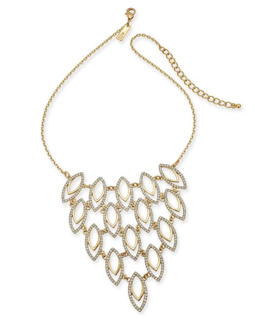 "INC International Concepts - Metallic I.n.c. Gold-tone Pavé Navette Statement Necklace, 18"" + 3"" Extender, Created For Macy's - Lyst"