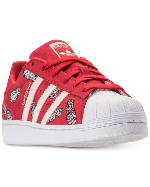 Adidas - Red Superstar Casual Sneakers From Finish Line - Lyst