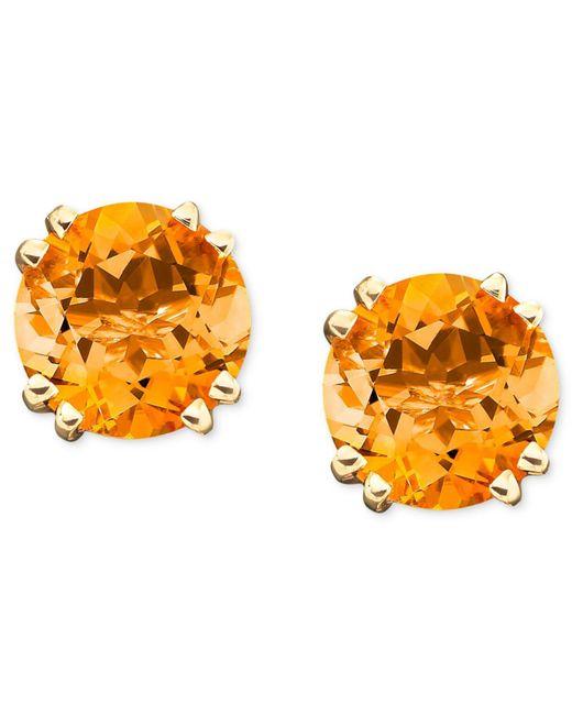 Macy's | Metallic 14k Gold Citrine Stud Earrings (3-1/2 Ct. T.w.) | Lyst
