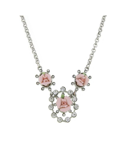 """2028 - Metallic Silver-tone Crystal And Pink Porcelain Rose Necklace 16"""" Adjustable - Lyst"""
