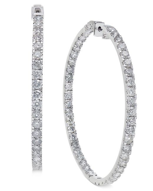 Macy's - Diamond Large Inside And Out Hoop Earrings (10 Ct. T.w.) In 14k White Gold - Lyst