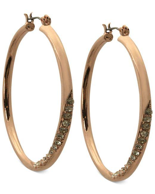 Guess   Pink Earrings, Rose Gold-tone Crystal Twisted Hoop Earrings   Lyst