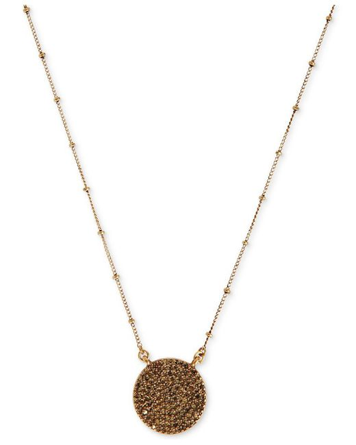 Lucky Brand | Metallic Necklace, Gold-tone Pave Crystal Necklace | Lyst