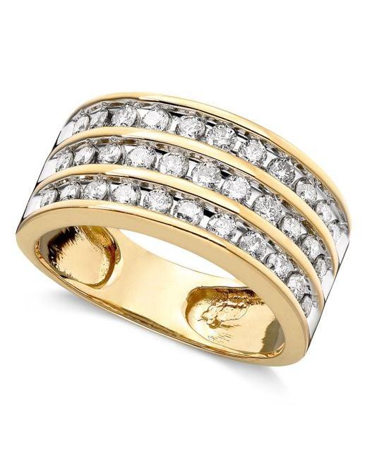 Macy's - Metallic Three-row Diamond Ring (1 Ct. T.w.) In 14k Gold - Lyst