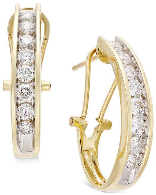 Macy's - Diamond J Hoop Earrings (1 Ct. T.w.) In 10k Gold Or White Gold - Lyst