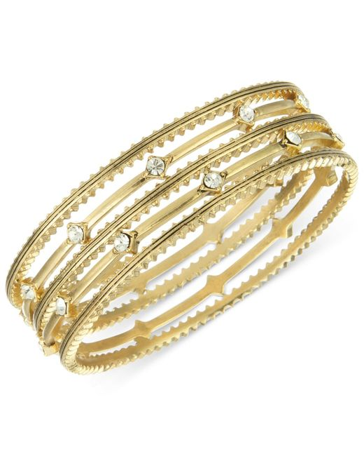 The Sak | Metallic Bracelet Set, Gold-tone Crystal Accent Textured Bangle Bracelets | Lyst