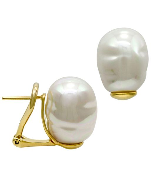 Majorica | Metallic 18k Gold Over Sterling Silver Earrings, Organic Man-made Baroque Pearl | Lyst