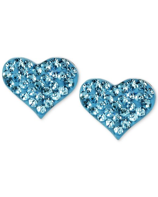 Betsey Johnson | Metallic Silver-tone Heart Blue Crystal Stud Earrings | Lyst