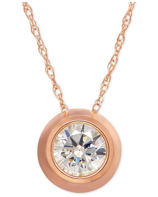 Macy's - Multicolor Bezel-set Cubic Zirconia Pendant Necklace In 14k Yellow, White, Or Rose Gold - Lyst