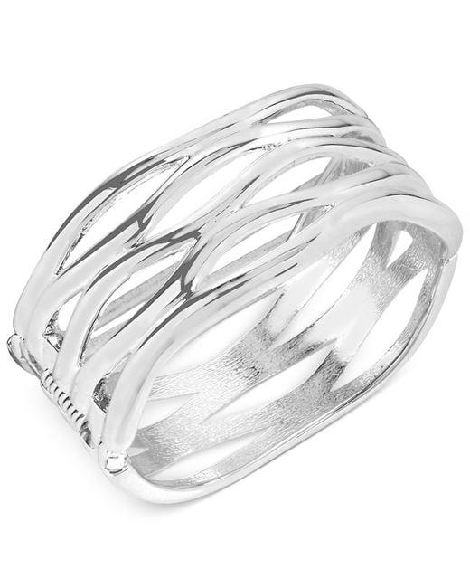 Robert Lee Morris   Metallic Silver-tone Sculptural Cut-out Hinge Bangle Bracelet   Lyst