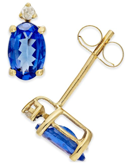 Macy's - Blue Tanzanite (3/4 Ct. T.w.) And Diamond Accent Stud Earrings In 14k Gold - Lyst