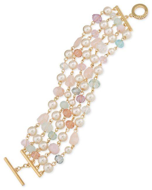 Carolee | Metallic Gold-tone Imitation Pearl And Beaded Toggle Bracelet | Lyst