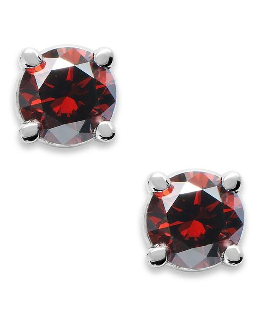 Macy's | 10k White Gold Red Diamond Round Stud Earrings (1/4 Ct. T.w.) | Lyst