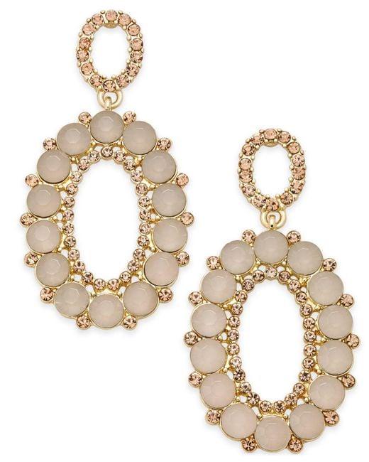 INC International Concepts   Metallic Gold-tone Pink Stone & Pavé Oval Drop Earrings   Lyst