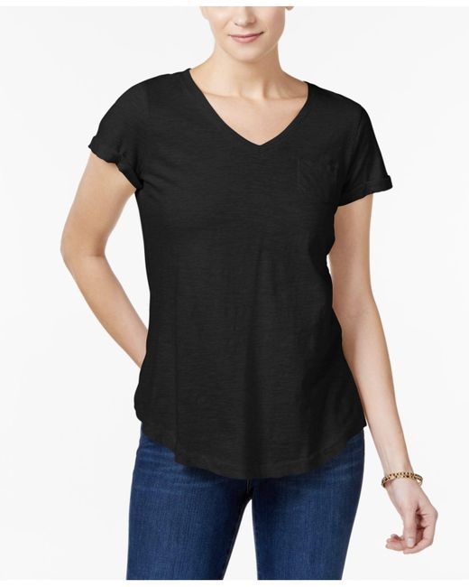 Style & Co. | Black Cotton Pocketed T-shirt | Lyst