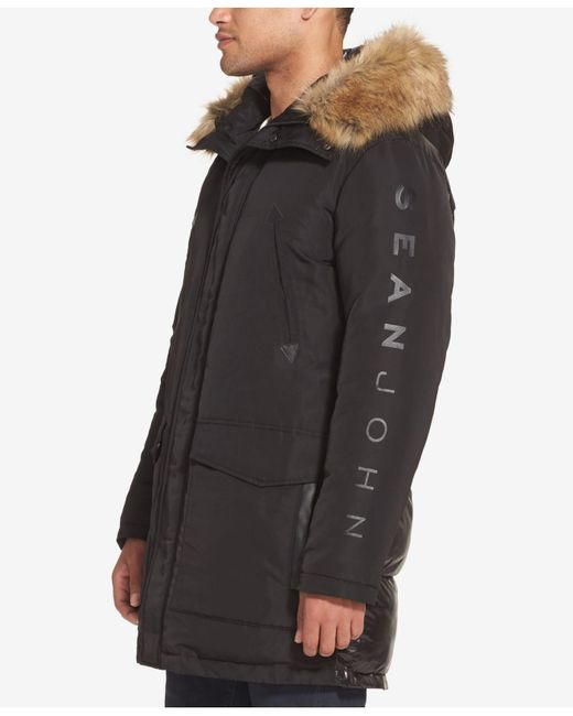 f7d65d83ecf56 ... Sean John - Black Hooded Parka With Faux-fur Trim for Men - Lyst ...