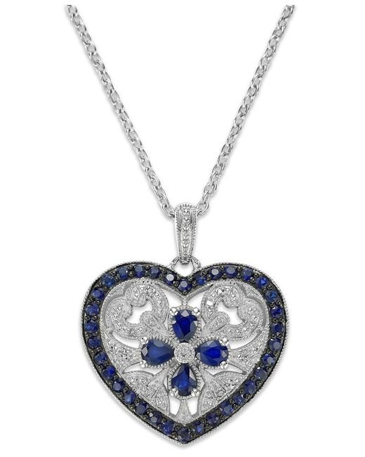 Macy's | Blue Sterling Silver Sapphire (1-7/8 Ct. T.w.) And Diamond Accent Heart Pendant Necklace | Lyst