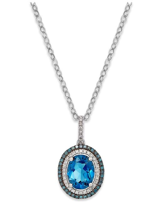 Macy's | London Blue Topaz (3 Ct. T.w.) And Diamond (1/4 Ct. T.w.) Pendant Necklace In 14k White Gold | Lyst
