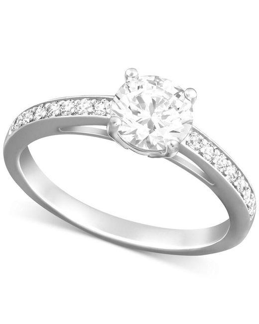 Swarovski | Metallic Rhodium-plated Round-cut Clear Crystal Ring | Lyst