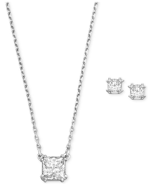 Swarovski | Metallic Rhodium-plated Clear Crystal Square Stud Earrings And Pendant Necklace | Lyst