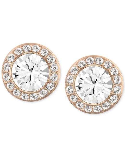 Swarovski | Pink Rose Gold-tone Crystal Round Button Earrings | Lyst