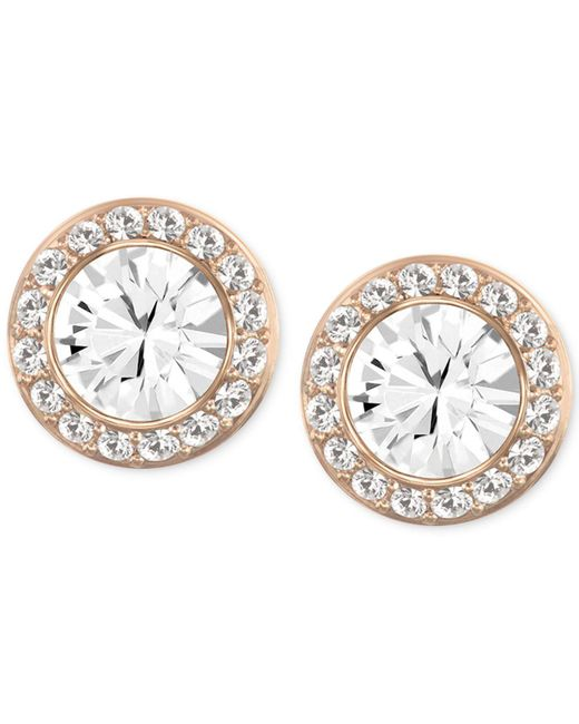 Swarovski - Pink Rose Gold-tone Crystal Round Button Earrings - Lyst