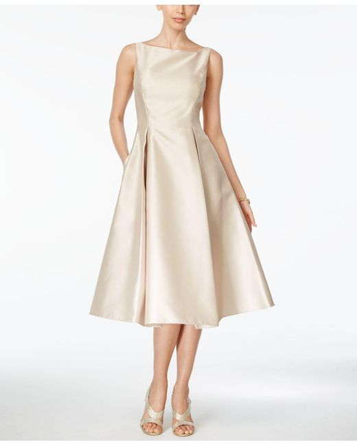 Adrianna Papell | Natural Boat-neck A-line Dress | Lyst