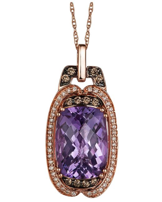 Le Vian | Amethyst (5-3/4 Ct. T.w.), White (1/8 Ct. T.w.) And Chocolate (1/6 Ct. T.w.) Diamond Pendant Necklace In 14k Rose Gold | Lyst