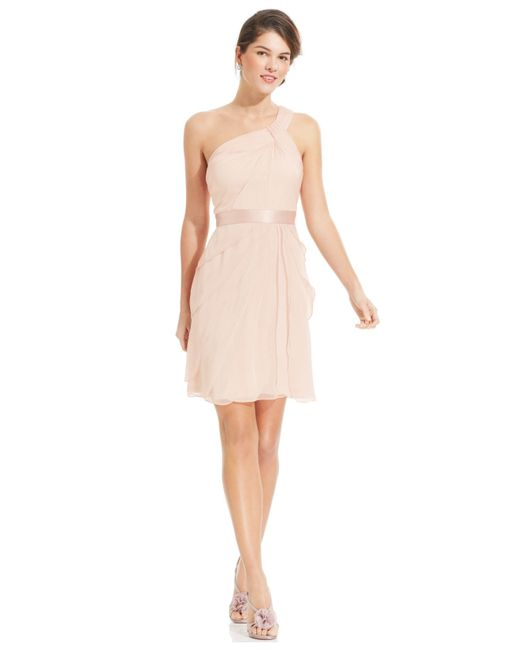 Adrianna Papell | Pink One-shoulder Tiered Chiffon Dress | Lyst