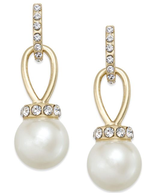 Charter Club - Metallic Gold-tone Imitation Pearl And Pavé Drop Earrings - Lyst