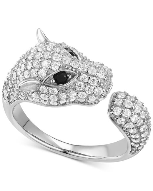 Macy's - Metallic Cubic Zirconia Pavé Panther Cuff Ring In Sterling Silver - Lyst