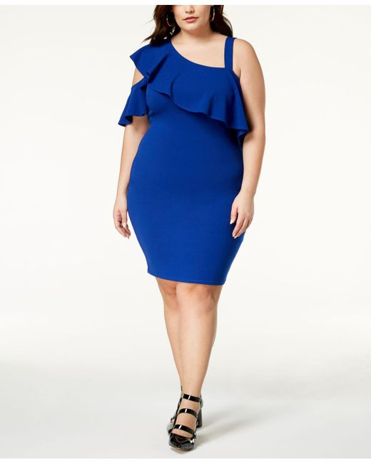 Soprano - Blue Trendy Plus Size One-shoulder Bodycon Dress - Lyst