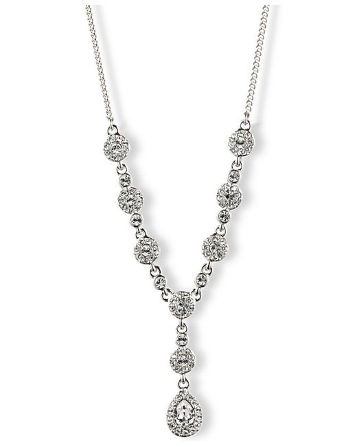 "Givenchy | Metallic 16"" Crystal Y Necklace 
