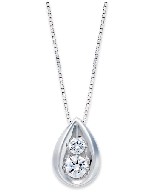Macy's | White Diamond Teardrop Pendant Necklace In 14k Gold (1/4 Ct. T.w.) | Lyst